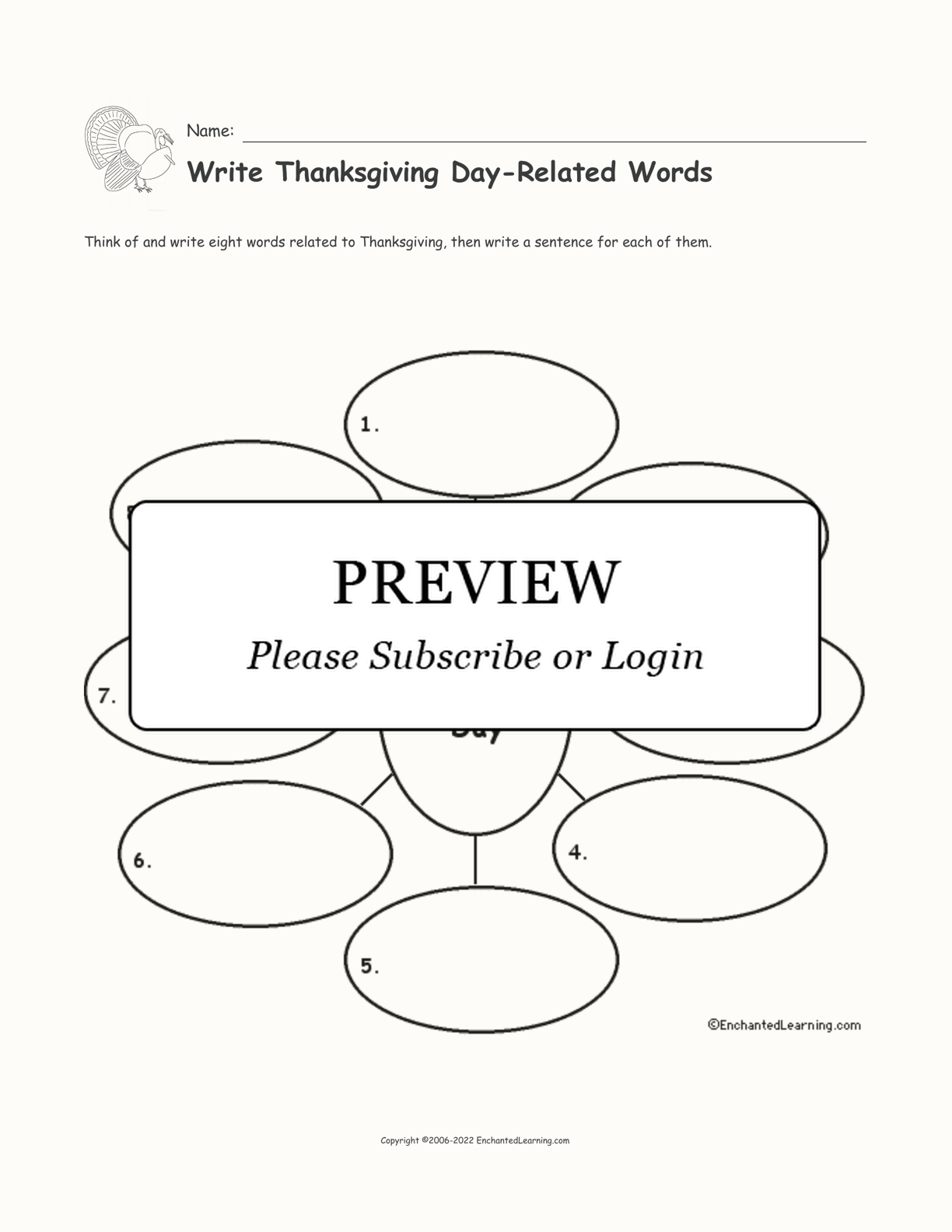 Write Thanksgiving Day-Related Words interactive printout page 1