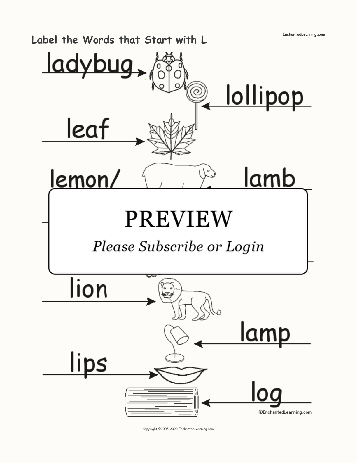 Label the Words that Start with L interactive worksheet page 2