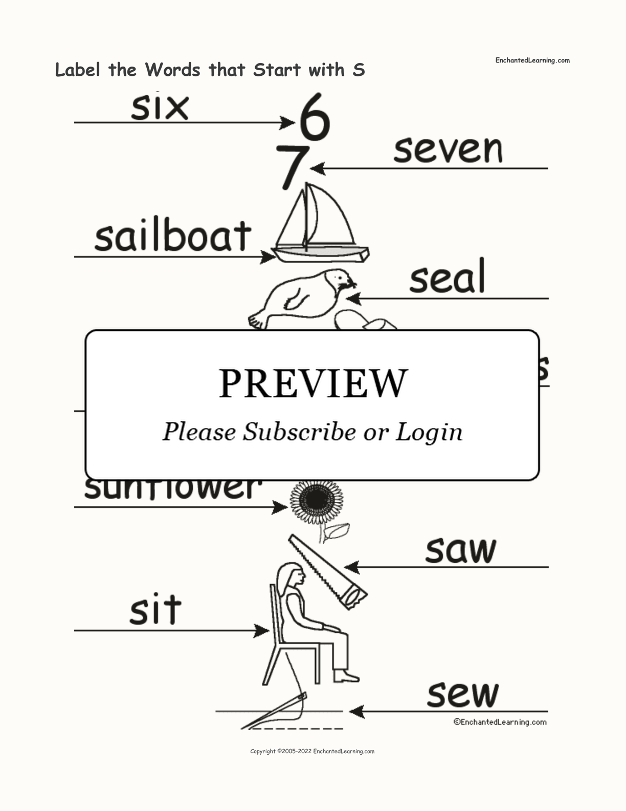 Label the Words that Start with S interactive worksheet page 2