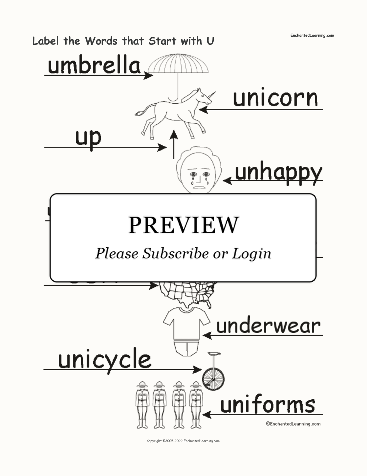 Label the Words that Start with U interactive worksheet page 2