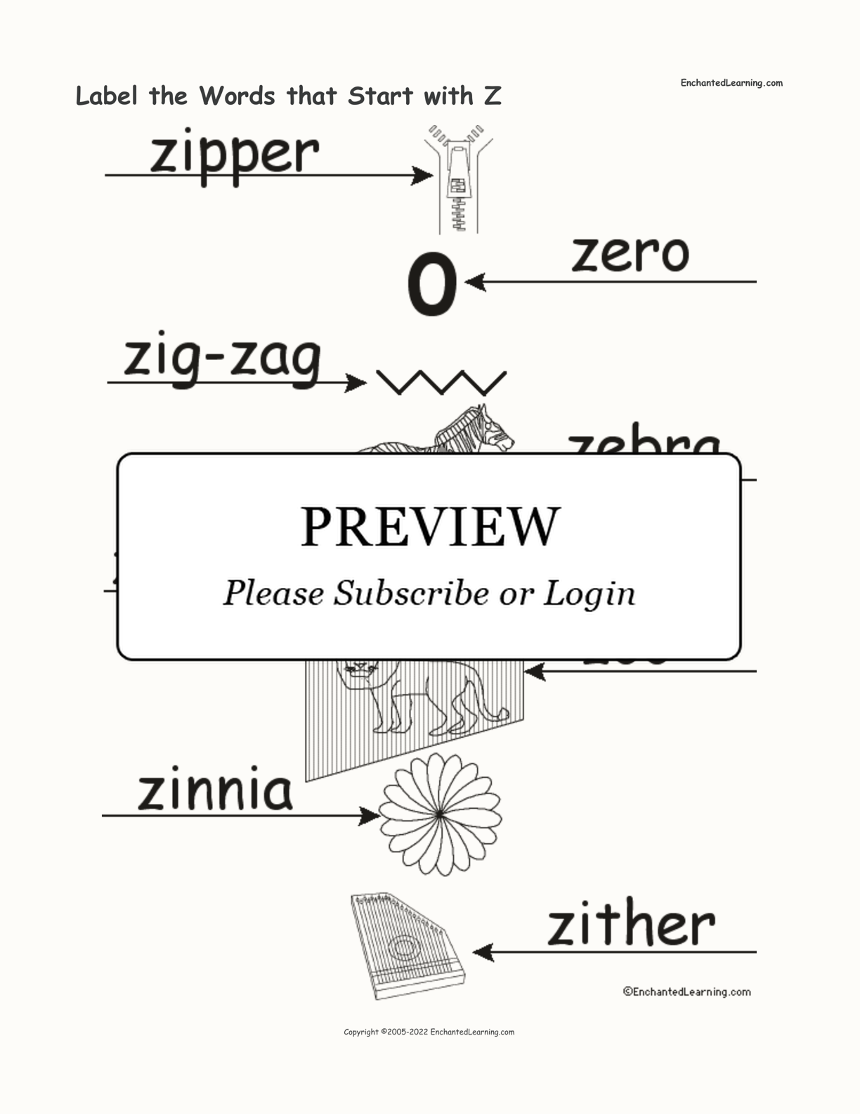 Label the Words that Start with Z interactive worksheet page 2