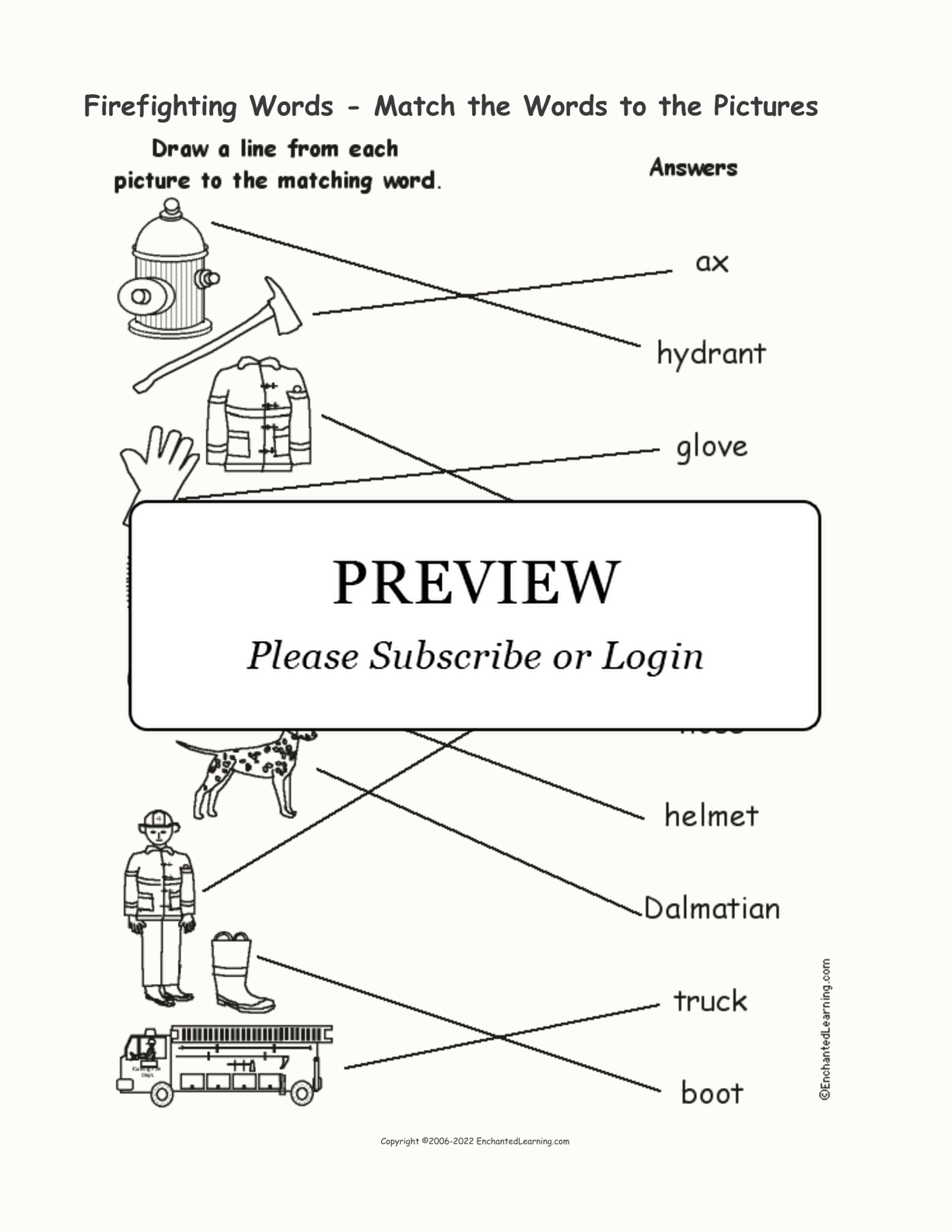 Firefighting Words - Match the Words to the Pictures interactive worksheet page 2