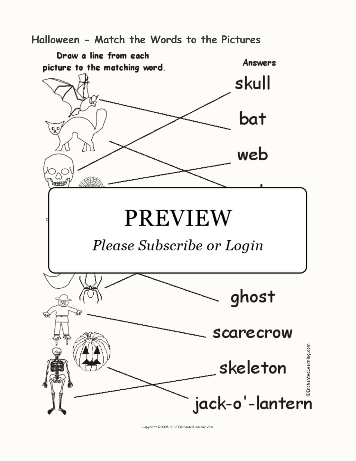 Halloween - Match the Words to the Pictures interactive worksheet page 2