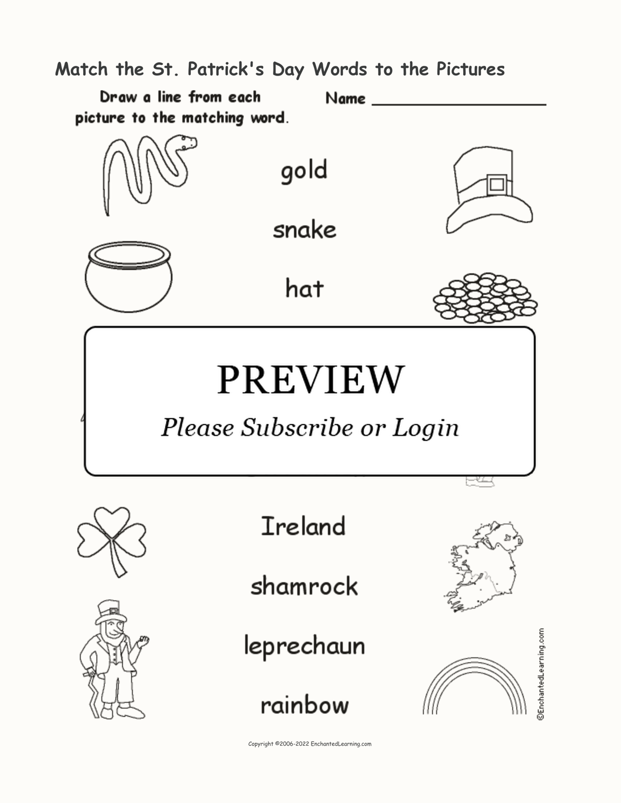 St. Patrick's Day - Match the Words to the Pictures interactive worksheet page 1