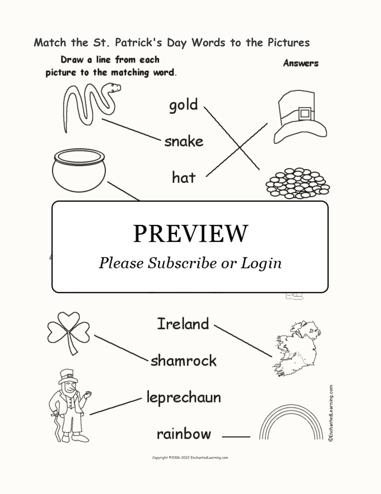 St. Patrick's Day - Match the Words to the Pictures interactive worksheet page 2