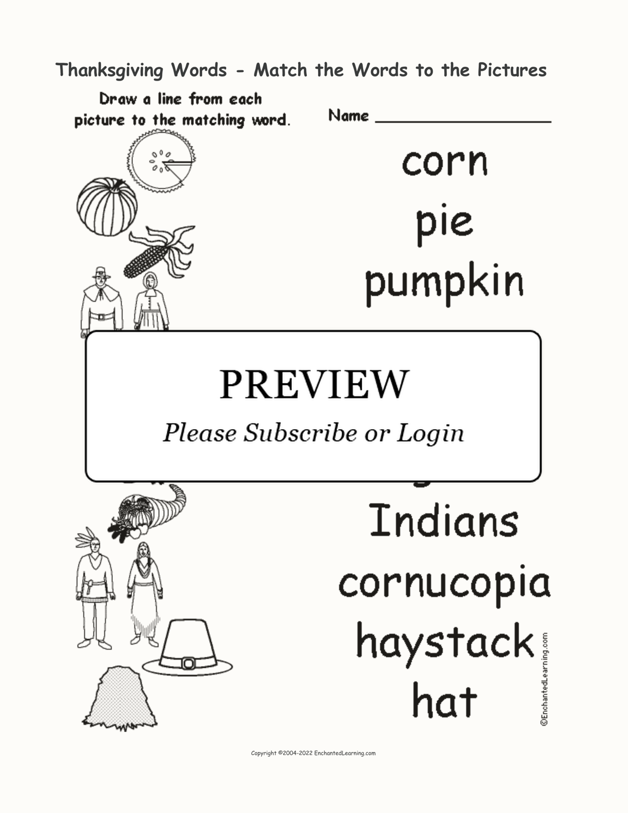 Thanksgiving Words - Match the Words to the Pictures interactive worksheet page 1