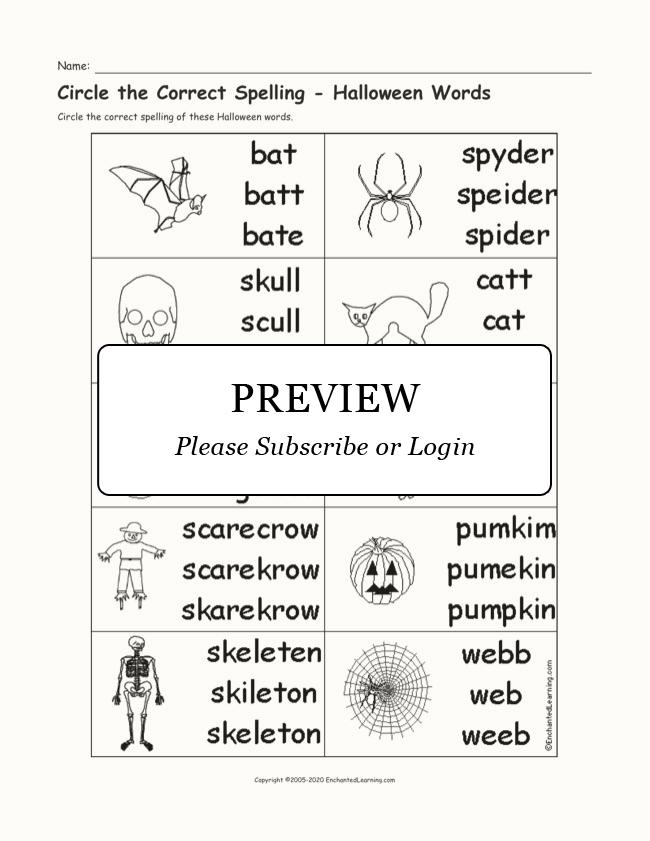 multiple choice spelling halloween words enchanted learning. Black Bedroom Furniture Sets. Home Design Ideas