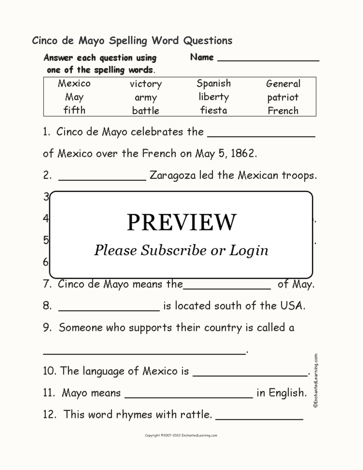 Cinco de Mayo Spelling Word Questions interactive worksheet page 1