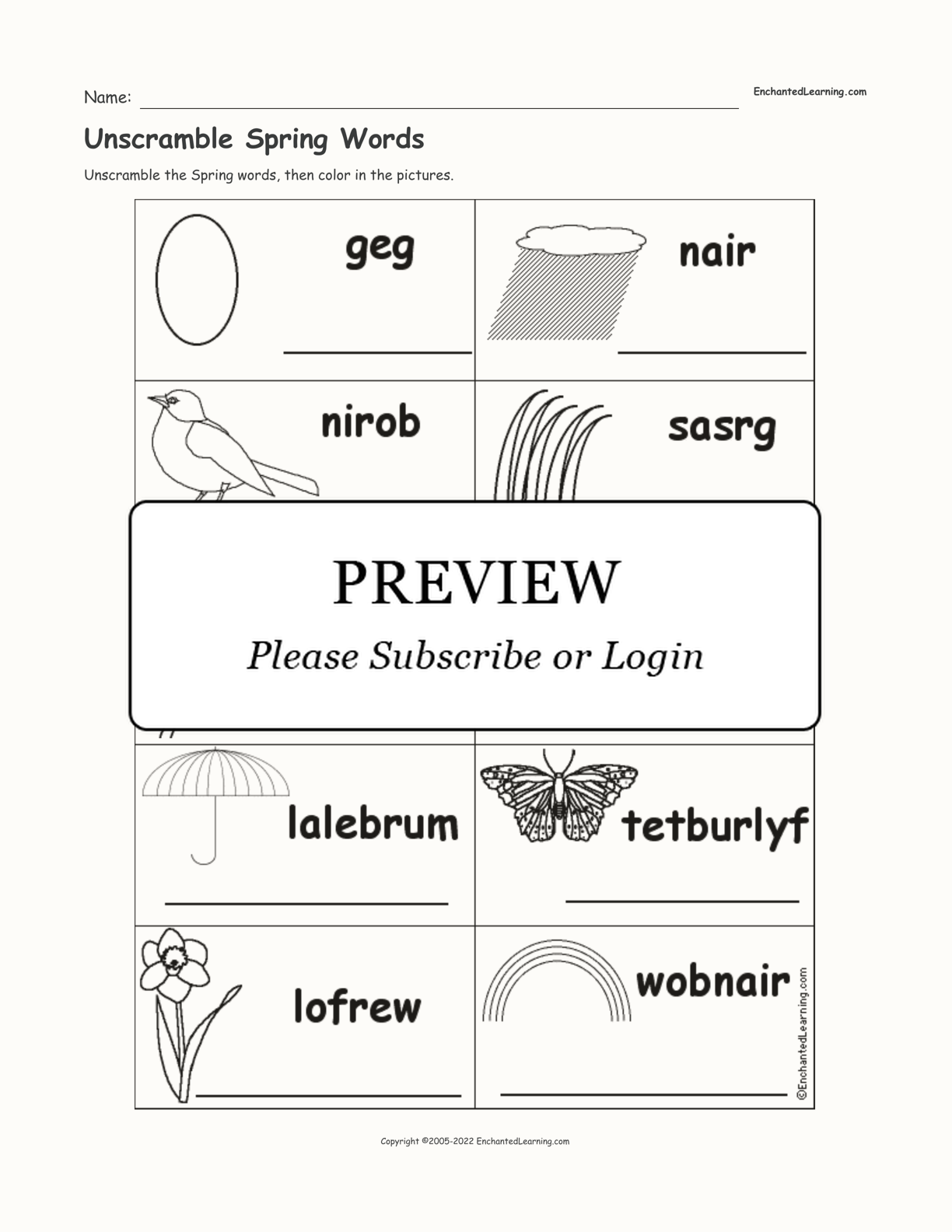 Unscramble Spring Words interactive worksheet page 1