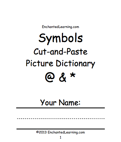 Symbols Cut And Paste Picture Dictionary A Short Book To Print