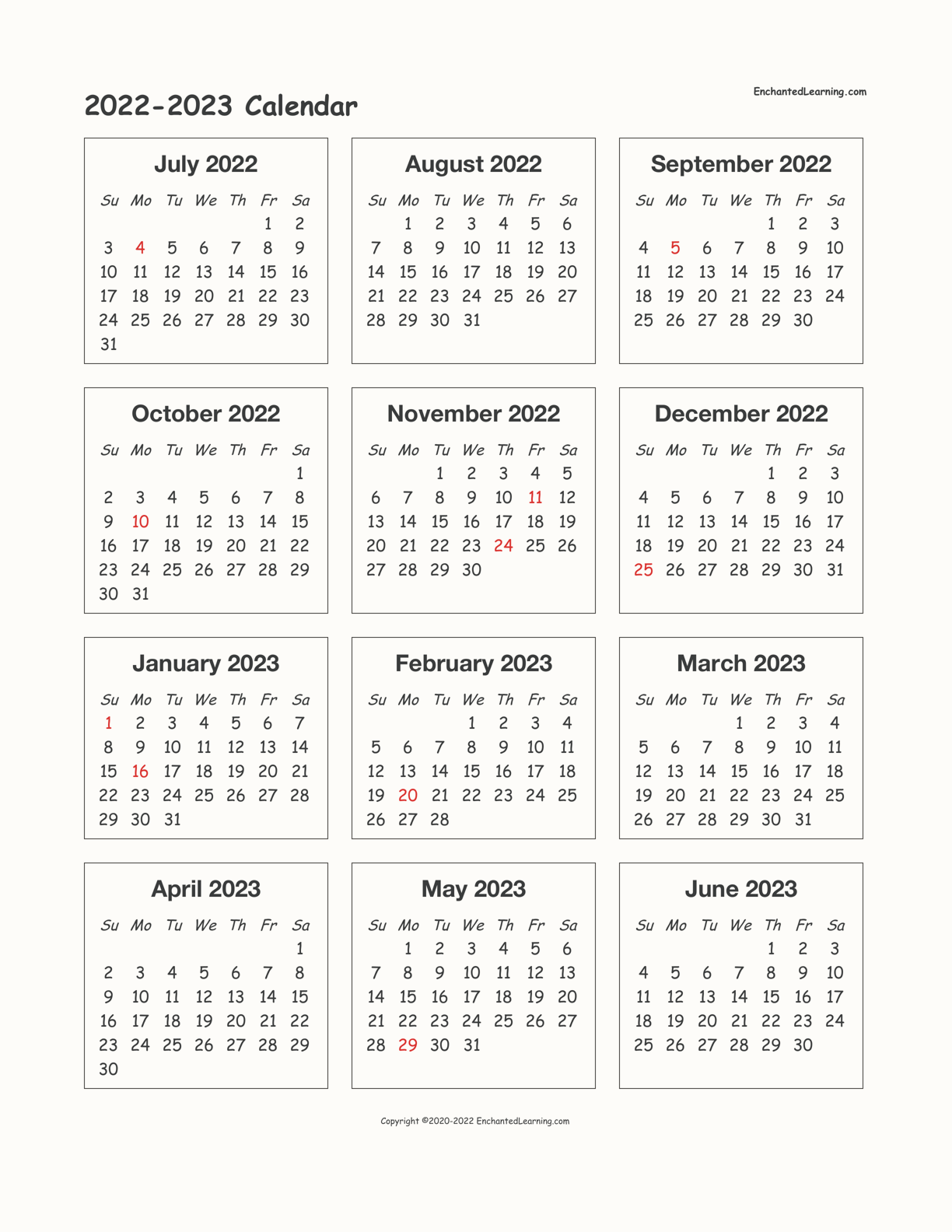 Calendar 2022 2023.2022 2023 School Year One Page Calendar Enchanted Learning