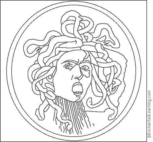 Caravaggio Medusa Coloring Page
