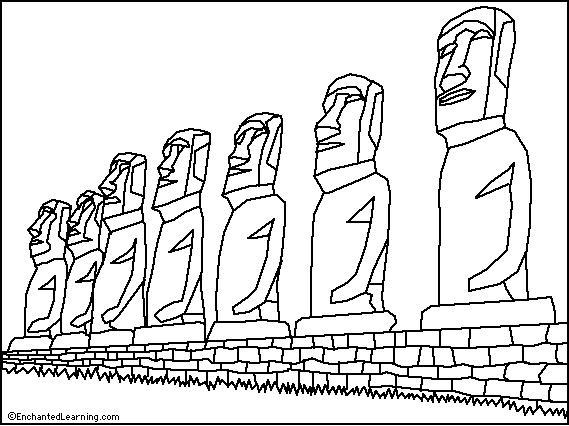 Easter Island Moai Coloring Page Enchantedlearning Com