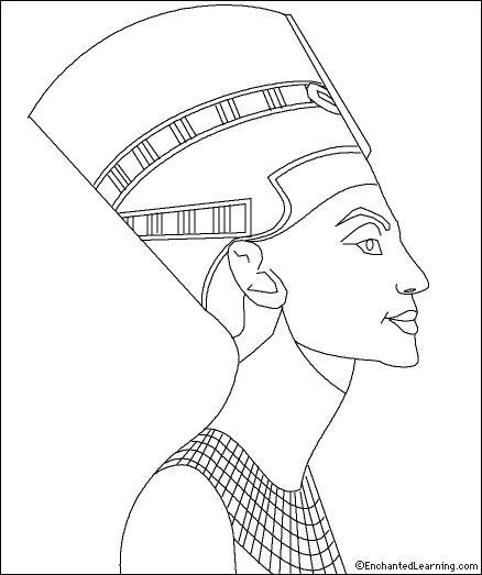 Kleurplaat Mona Lisa Queen Nefertiti Coloring Page Enchantedlearning Com