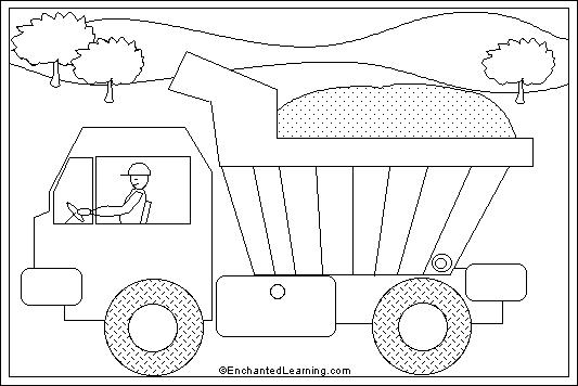 Dump Truck Online Coloring Page: EnchantedLearning.com