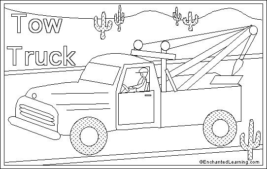 tow truck coloring pages Tow truck online coloring page: EnchantedLearning.com tow truck coloring pages