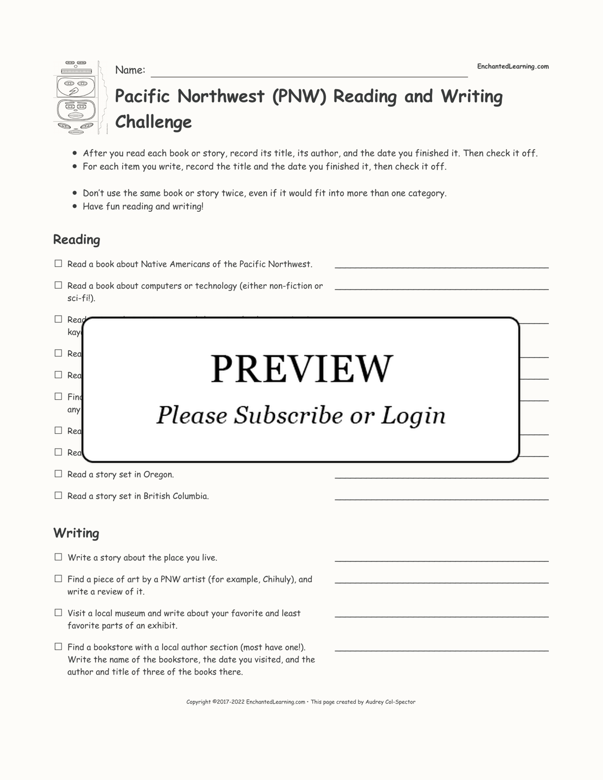 Pacific Northwest (PNW) Reading and Writing Challenge interactive printout page 1