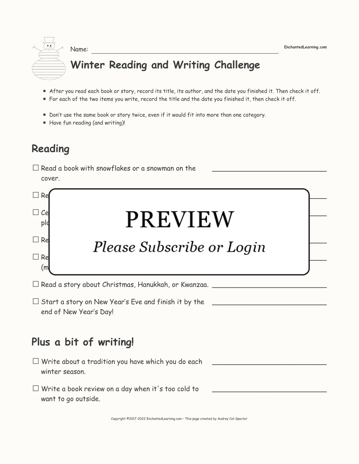 Winter Reading and Writing Challenge interactive printout page 1