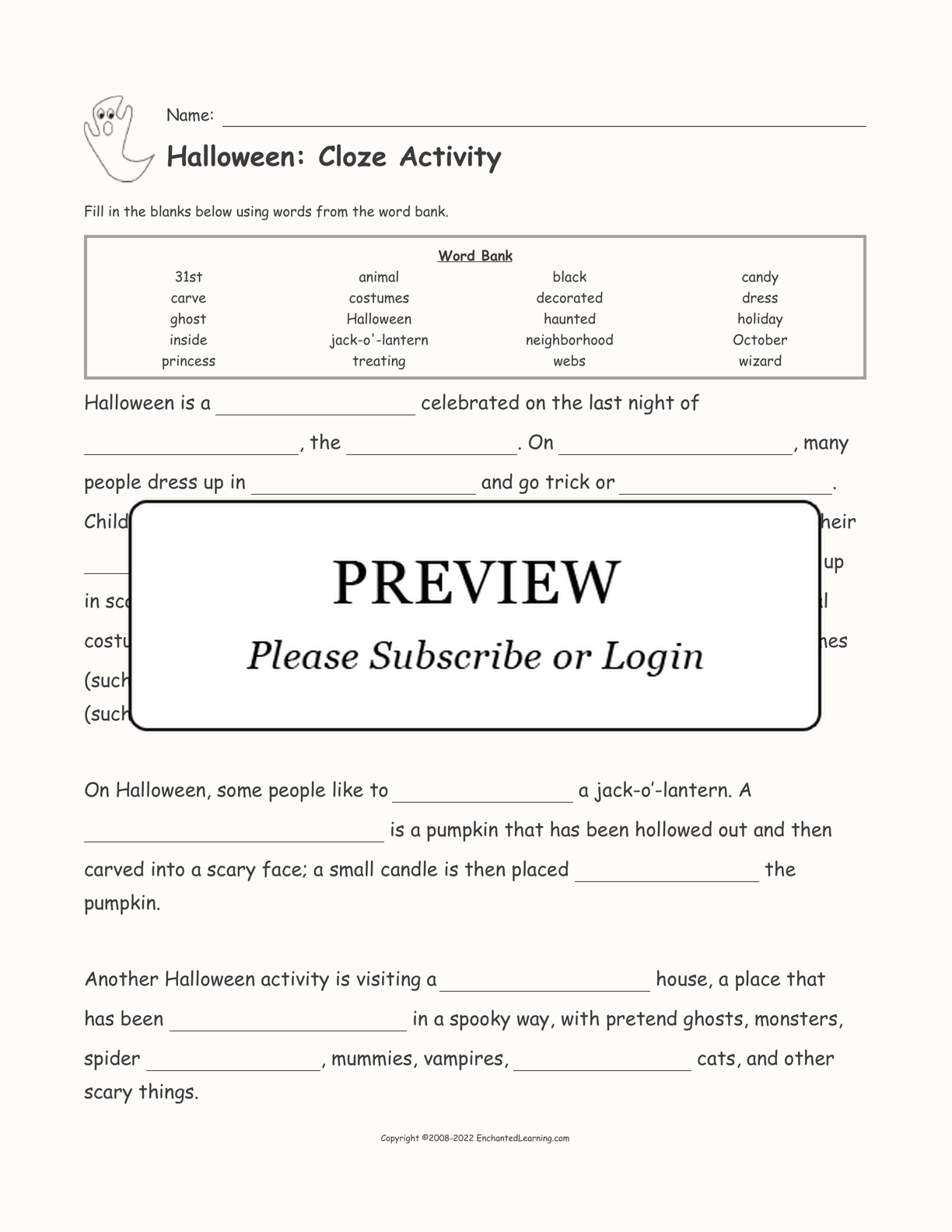 Halloween: Cloze Activity interactive worksheet page 1
