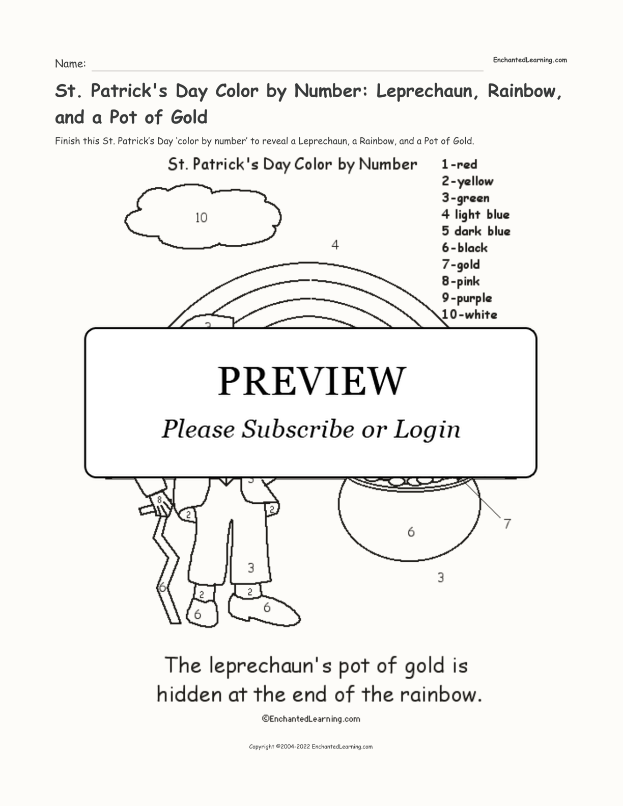 St. Patrick's Day Color by Number: Leprechaun, Rainbow, and a Pot of Gold interactive printout page 1