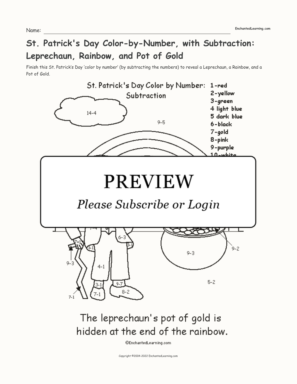 St. Patrick's Day Color-by-Number, with Subtraction: Leprechaun, Rainbow, and Pot of Gold interactive printout page 1