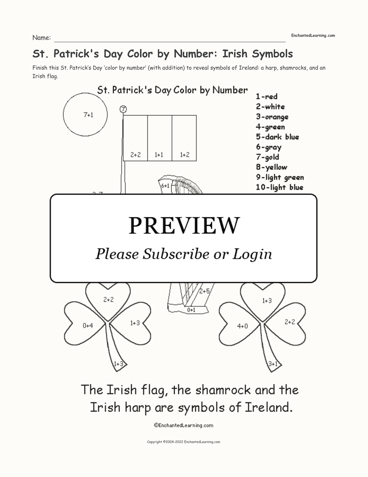 St. Patrick's Day Color by Number: Irish Symbols interactive printout page 1