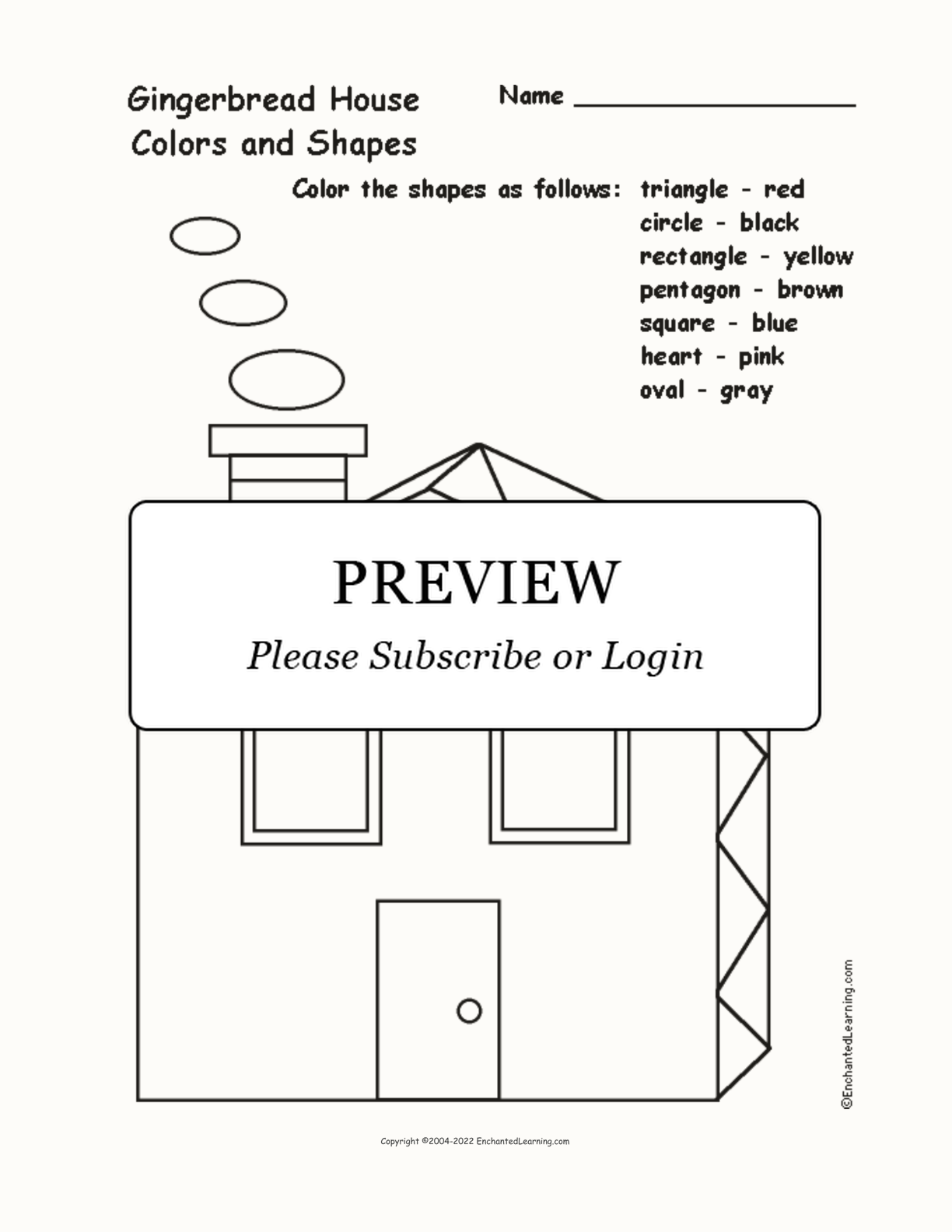 Gingerbread House: Colors and Shapes interactive worksheet page 1