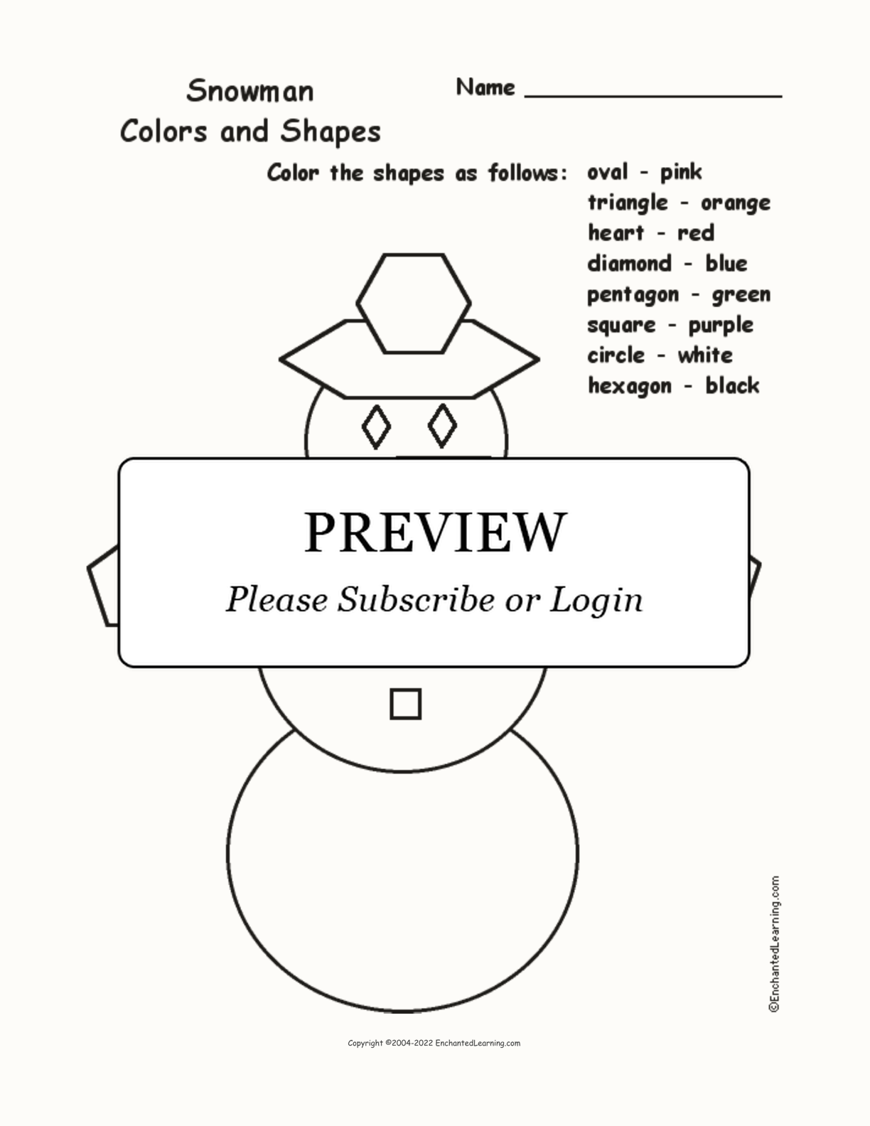 Snowman: Colors and Shapes interactive worksheet page 1