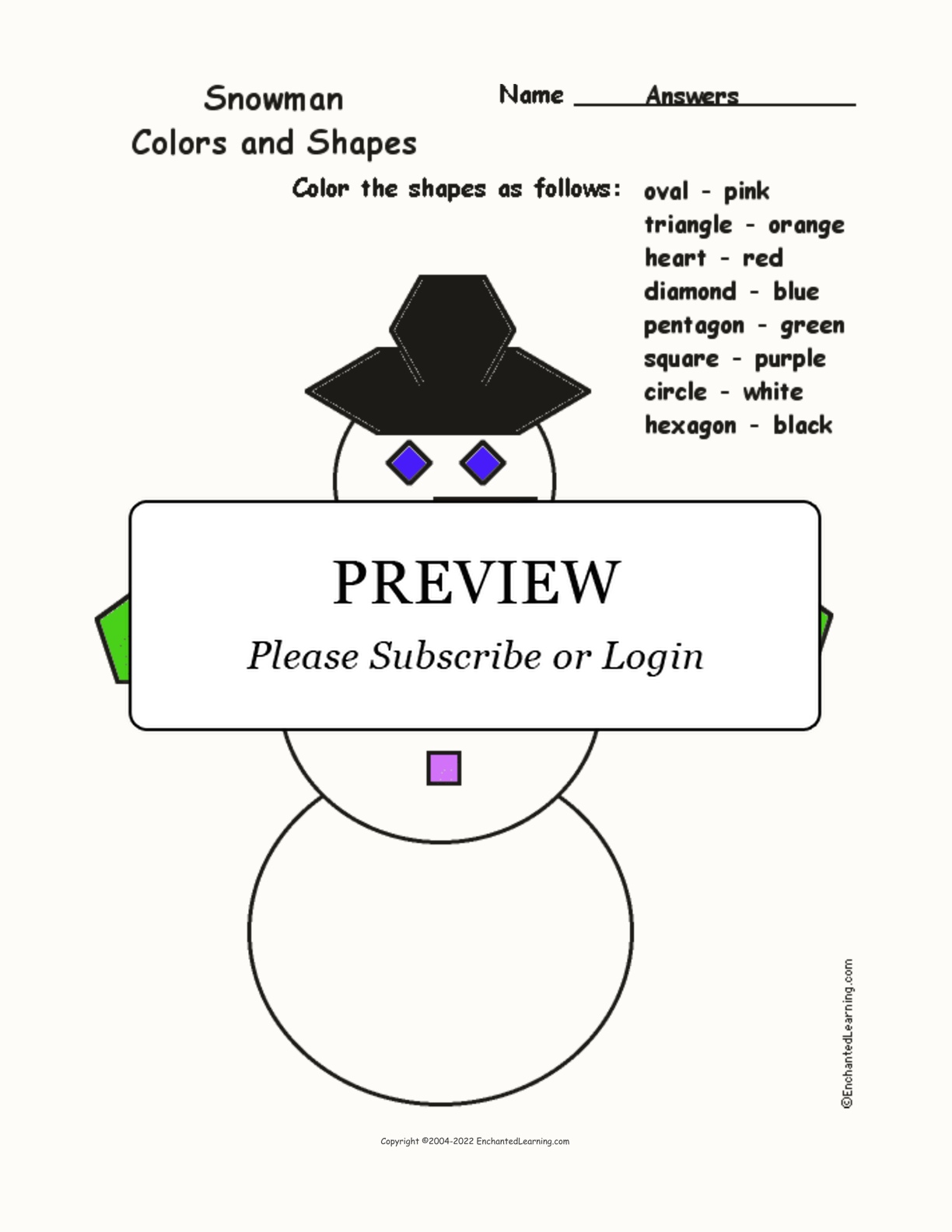 Snowman: Colors and Shapes interactive worksheet page 2