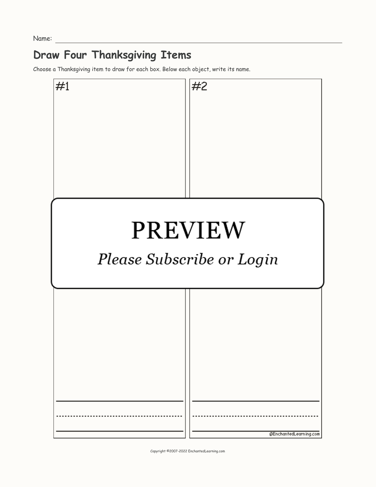 Draw Four Thanksgiving Items interactive printout page 1