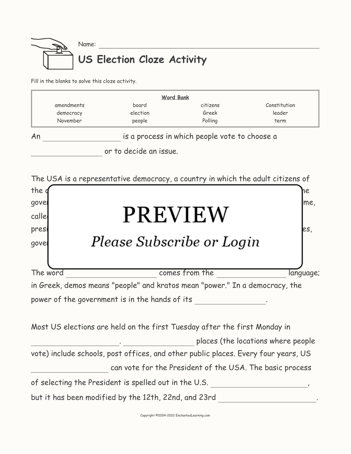 US Election Cloze Activity interactive worksheet page 1