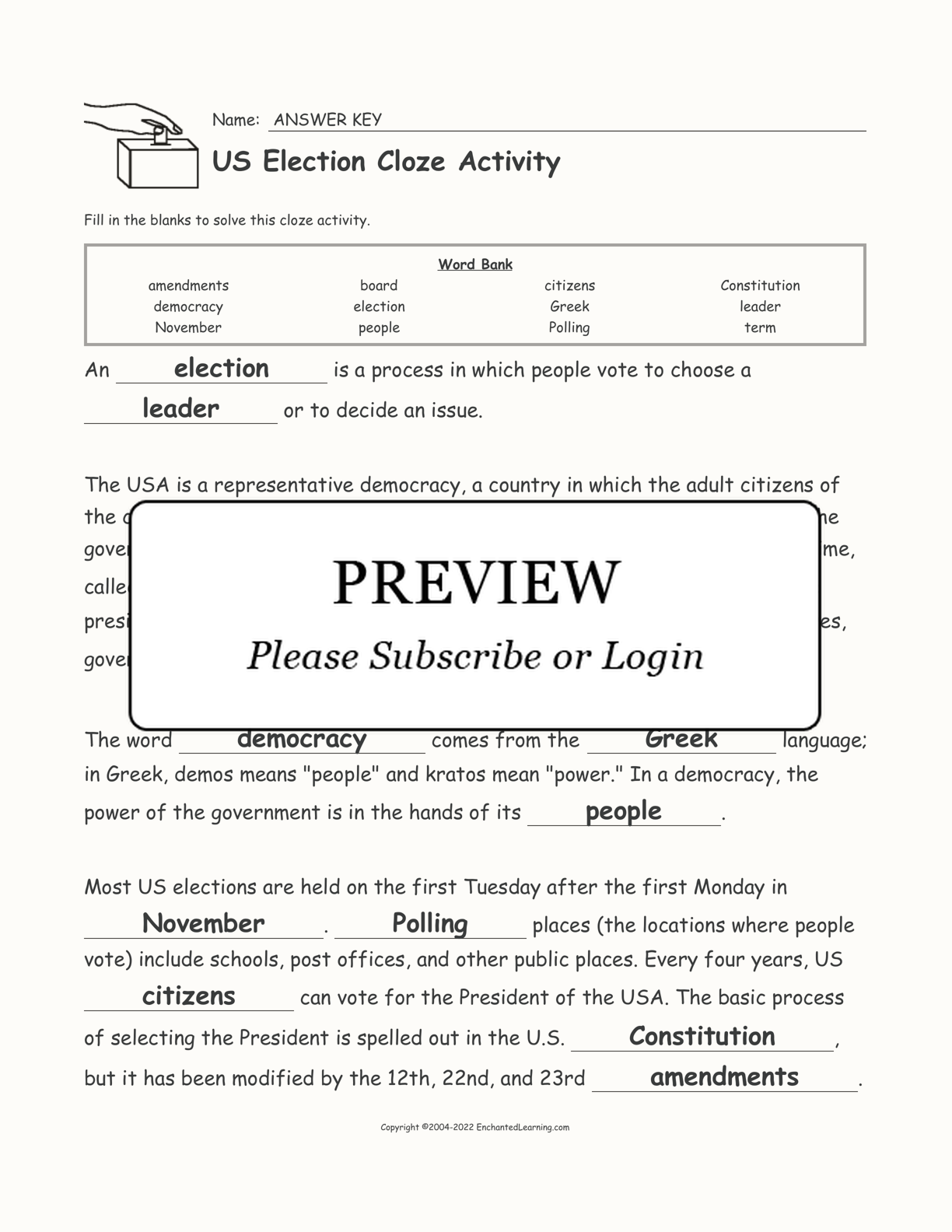 US Election Cloze Activity interactive worksheet page 2