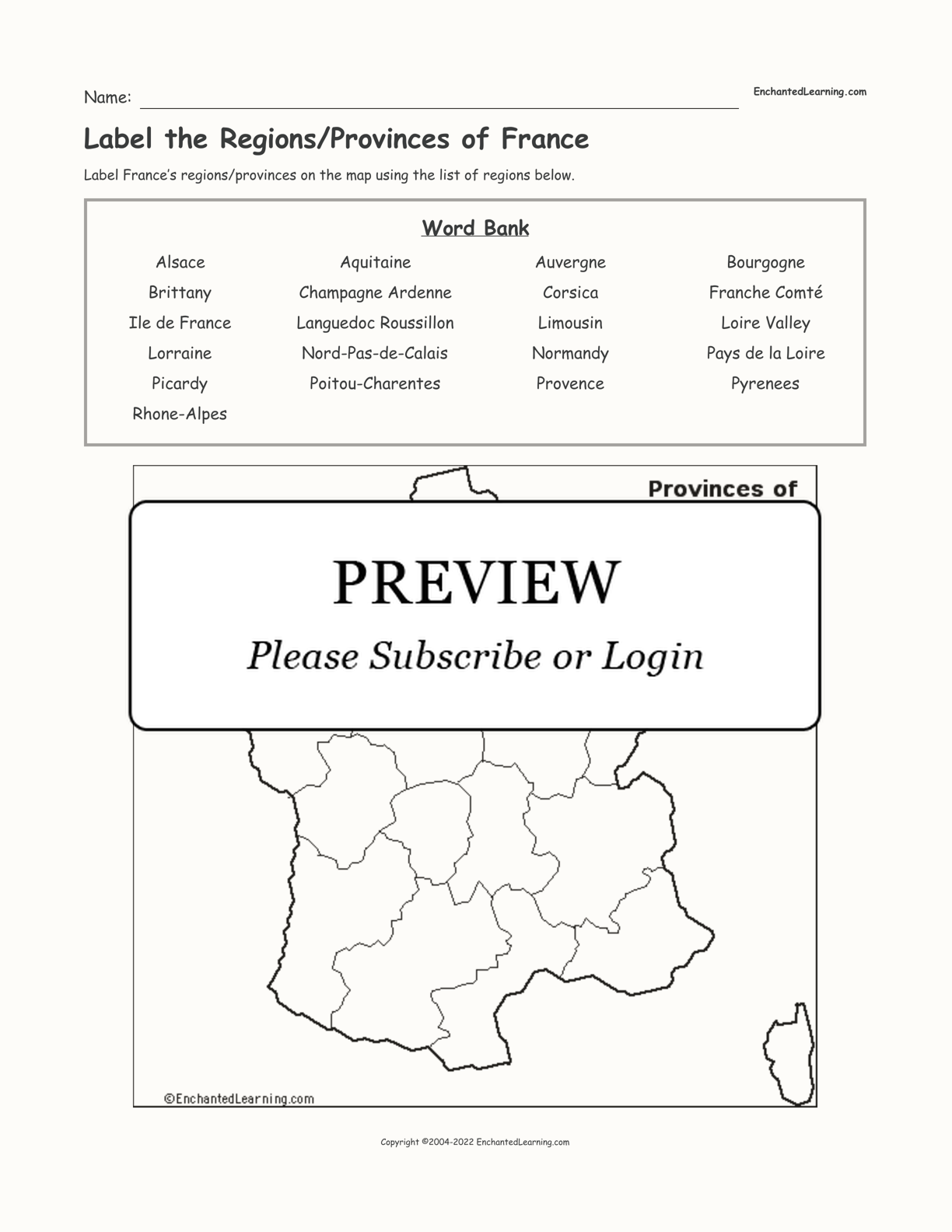 Label the Regions/Provinces of France interactive worksheet page 1