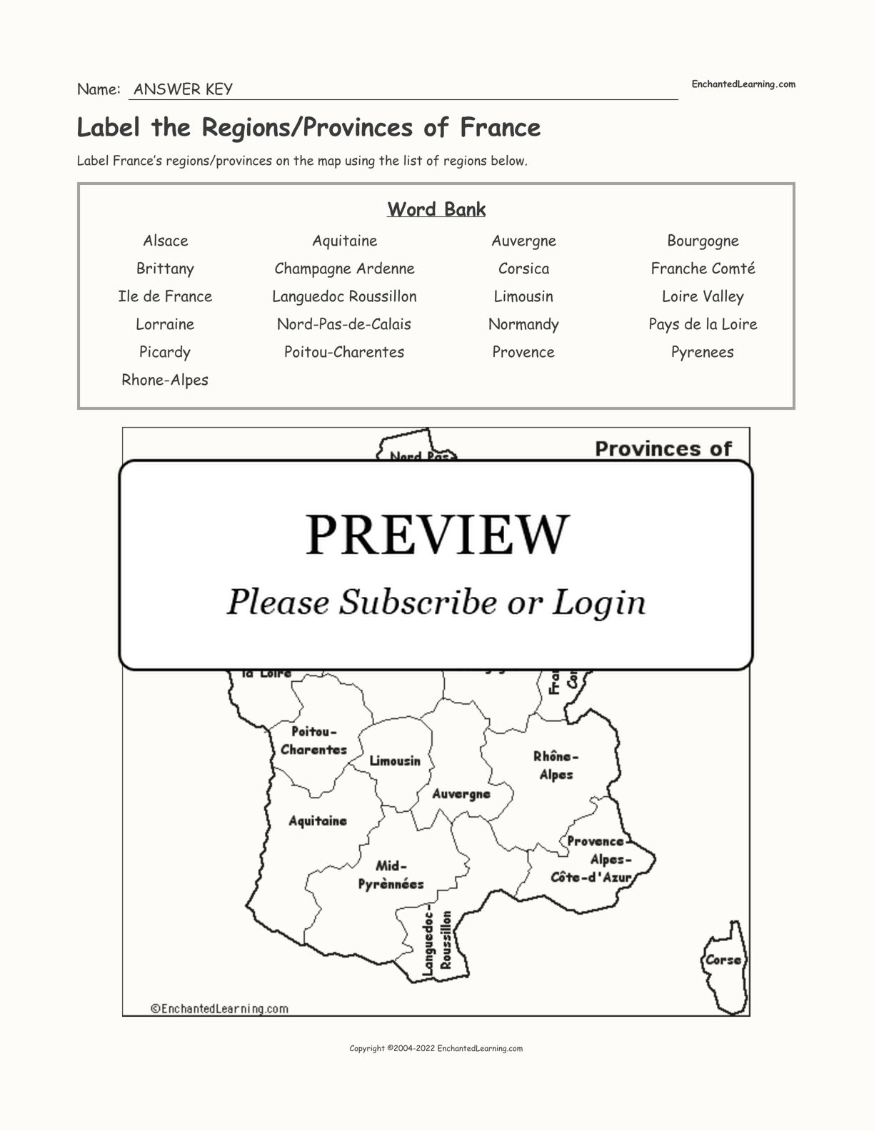 Label the Regions/Provinces of France interactive worksheet page 2