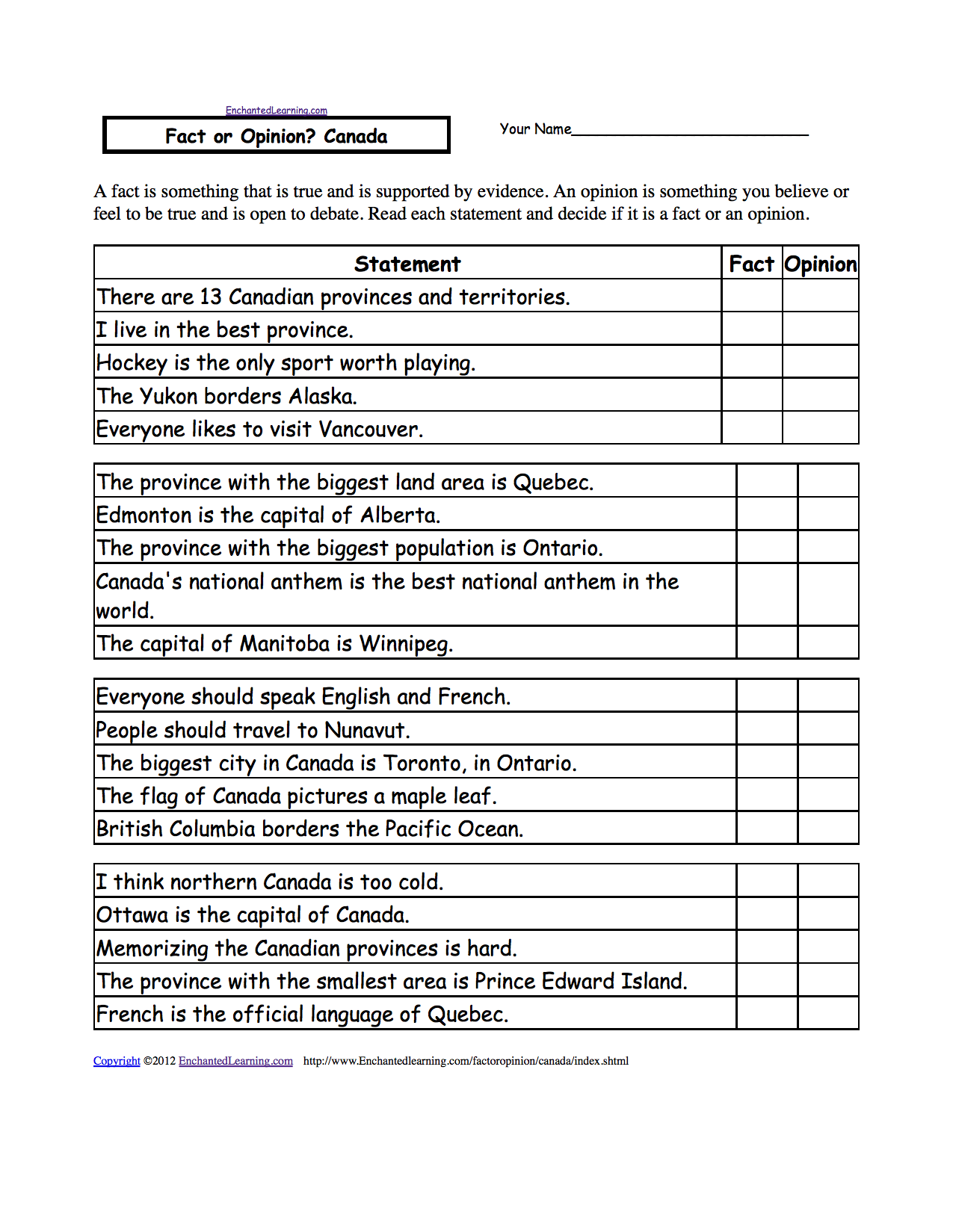 Worksheet Fact Opinion Worksheet fact or opinion canada a worksheet enchantedlearning com