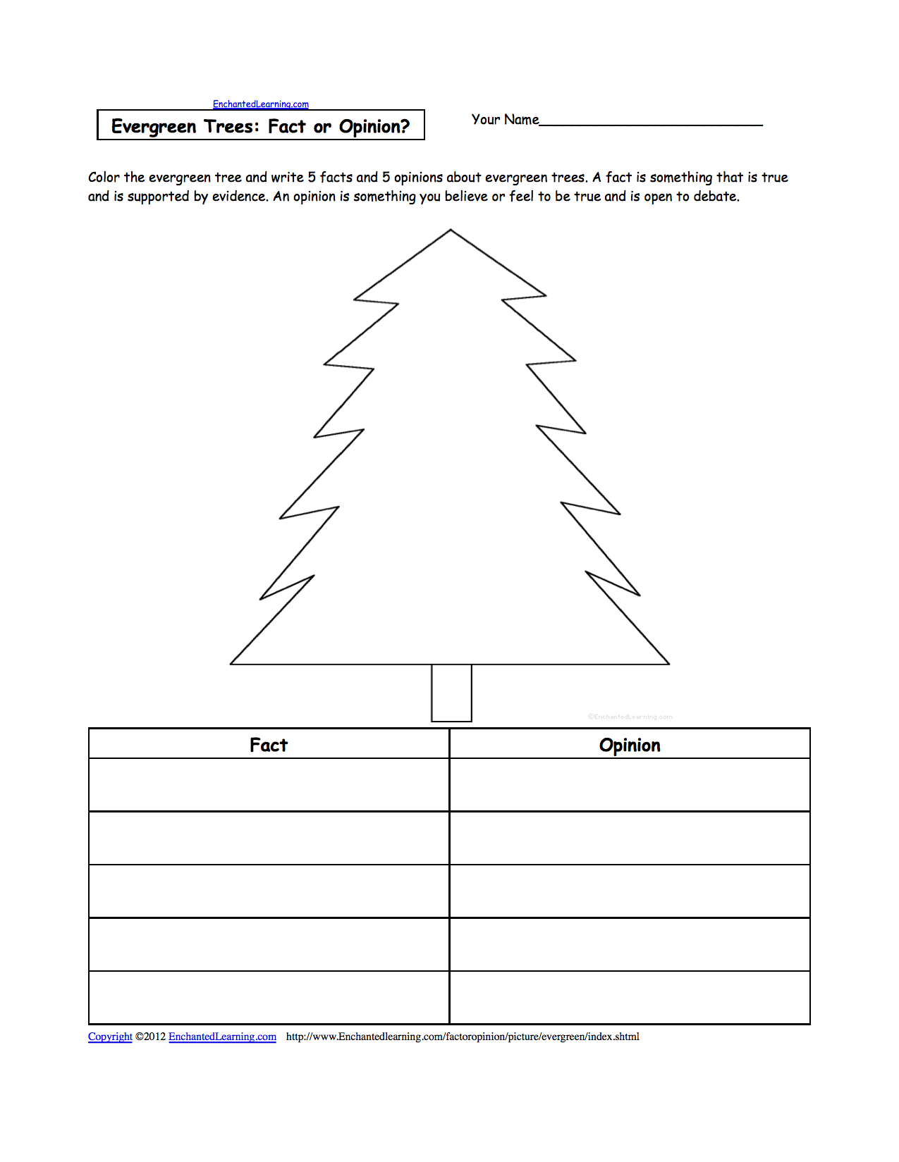 Picture Fact Or Opinion Worksheets To Print Enchantedlearning