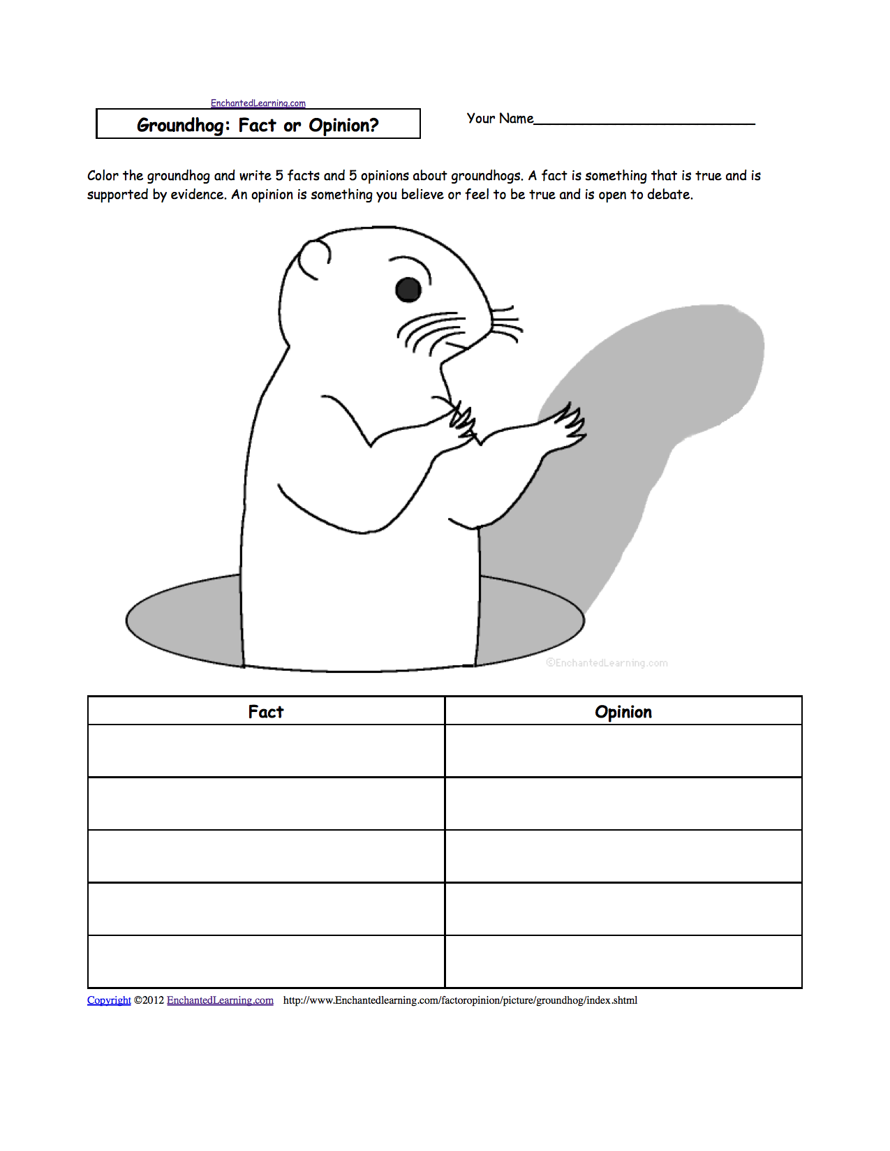 graphic about Groundhog Printable identify Groundhog Working day Crafts, Worksheets and Printable Guides