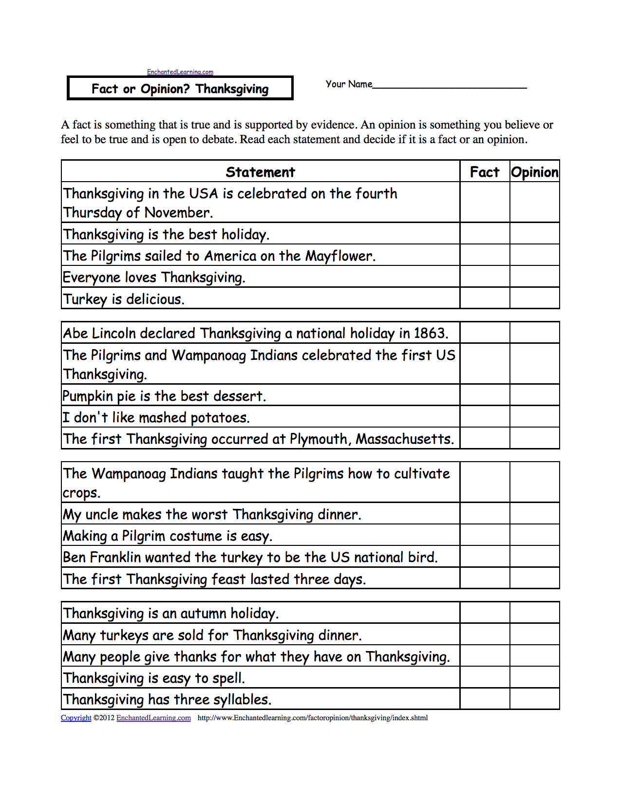 Worksheets Physical Geography Worksheets fact or opinion checkmark worksheets to print enchantedlearning com com