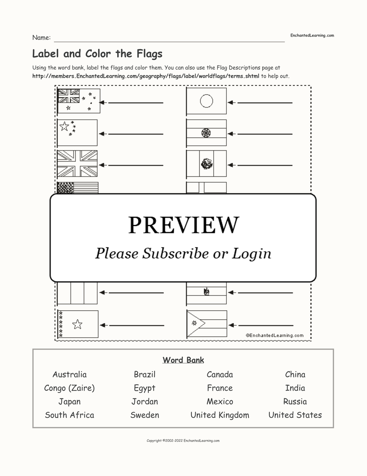 Label and Color the Flags interactive worksheet page 1