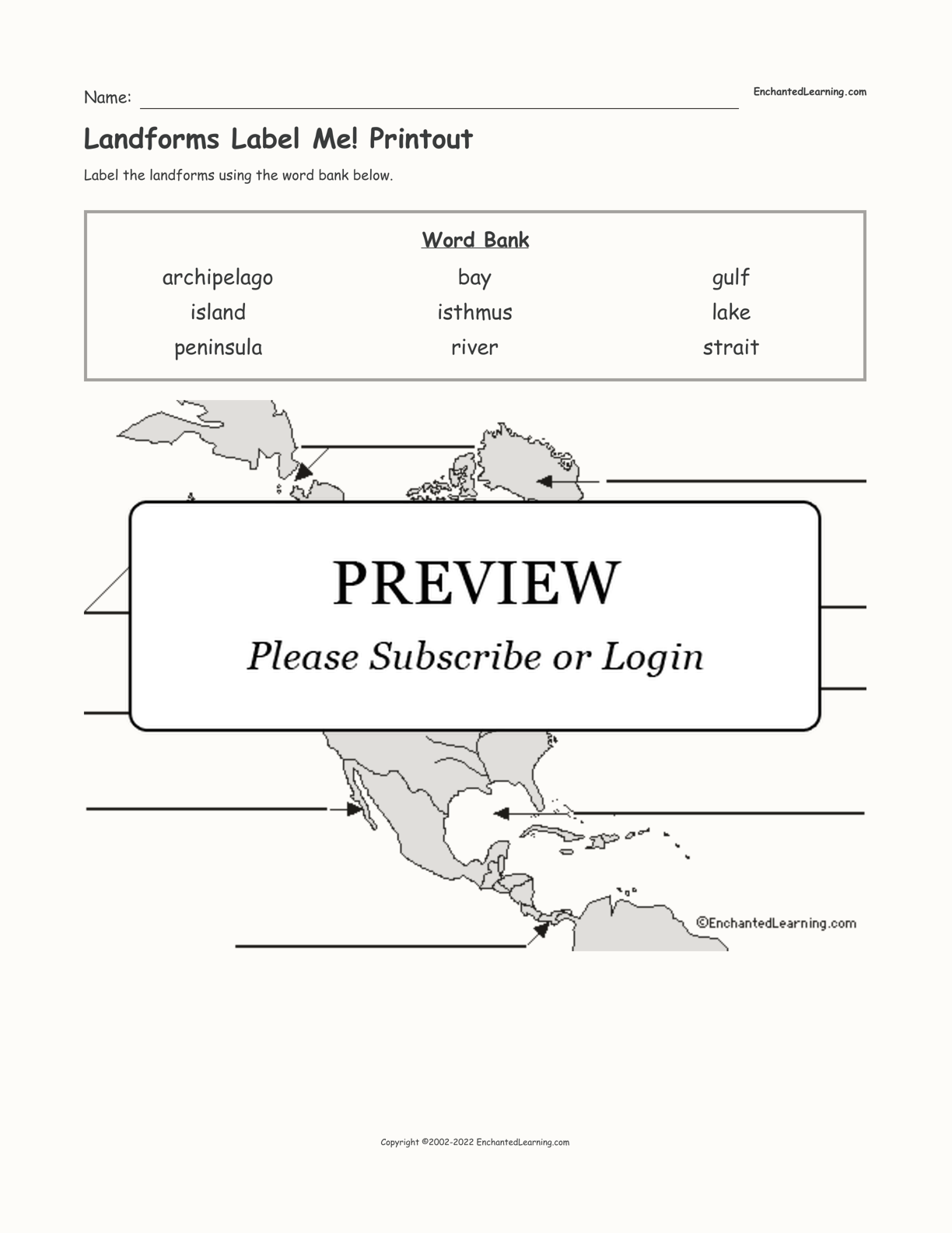 Landforms Label Me! Printout interactive worksheet page 1