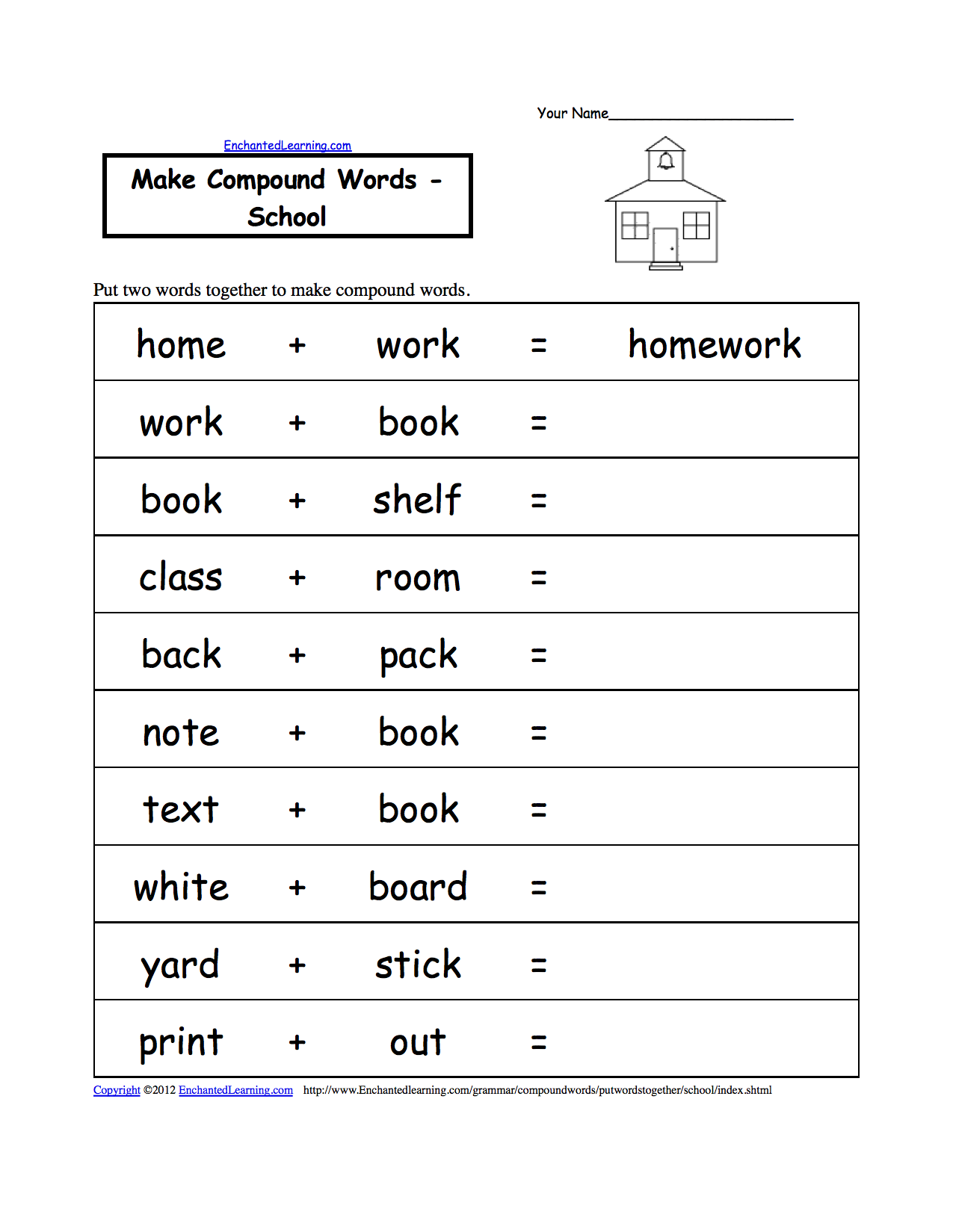 Make Compound Words - School, A Printable Worksheet ...