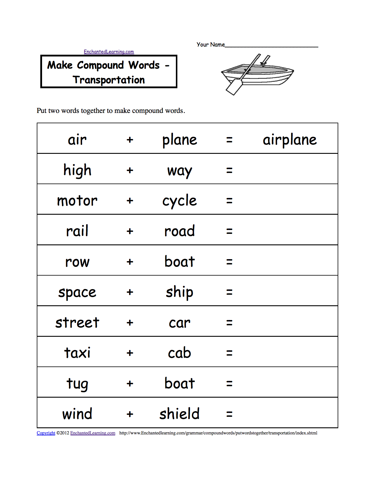 Make Compound Words, Printable Worksheets. EnchantedLearning.com