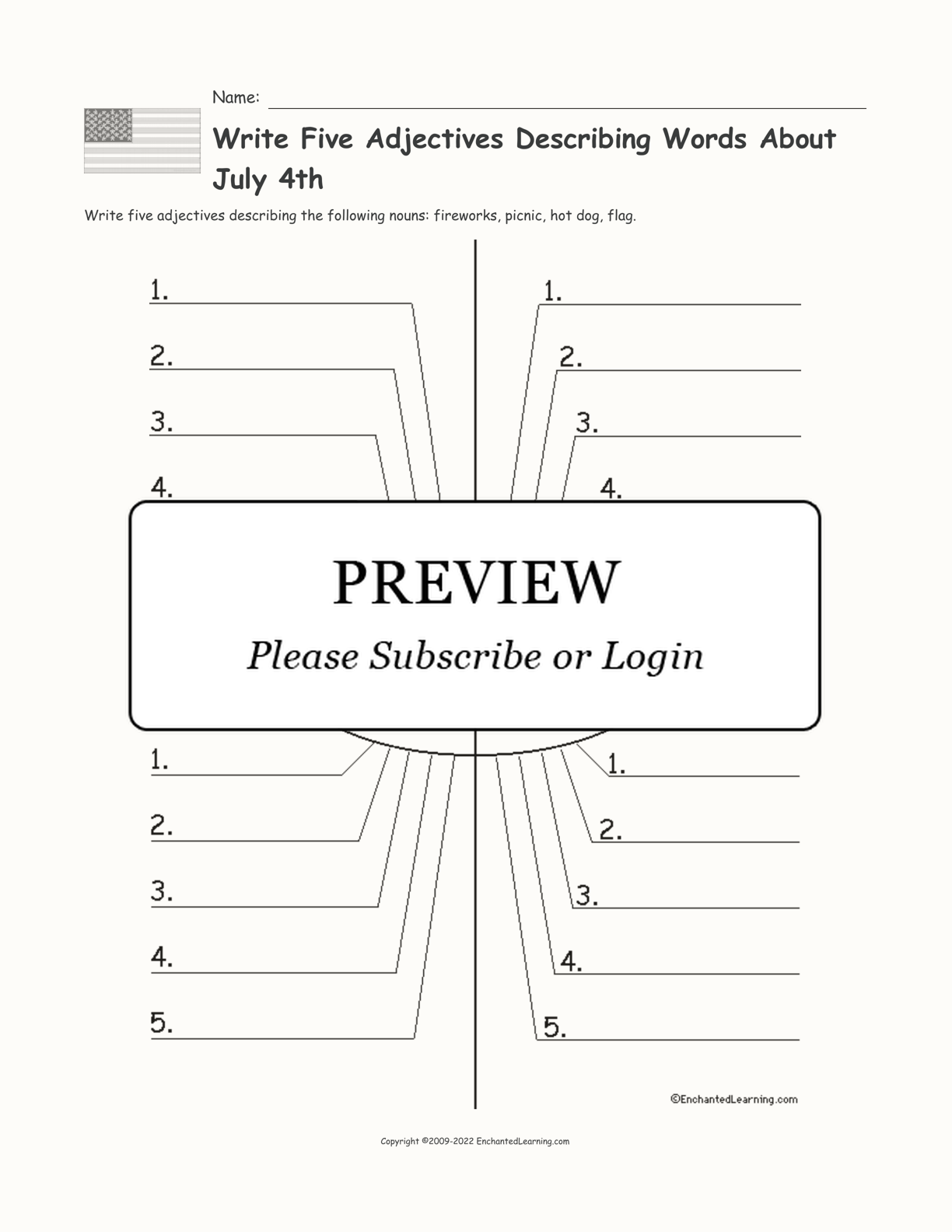 Write Five Adjectives Describing Words About July 4th interactive printout page 1