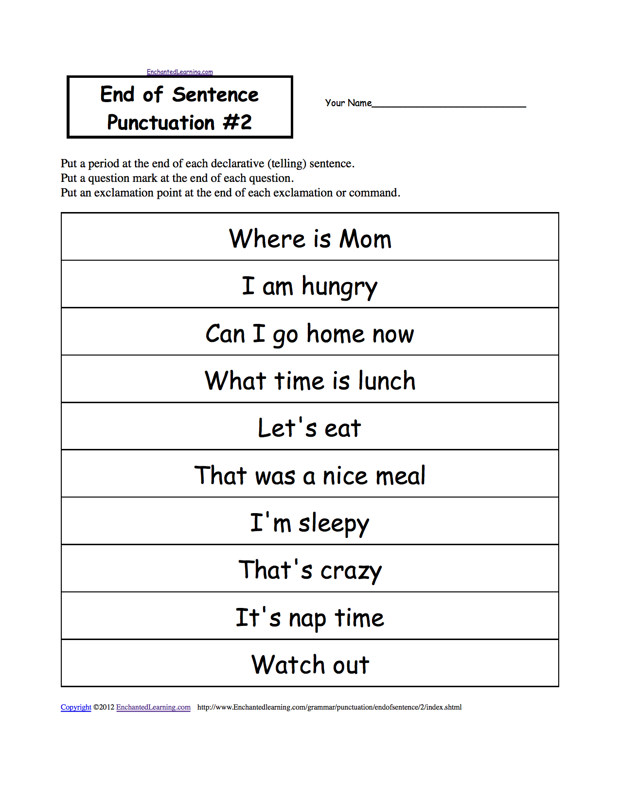 End of Sentence Punctuation, Printable Worksheets. EnchantedLearning.com