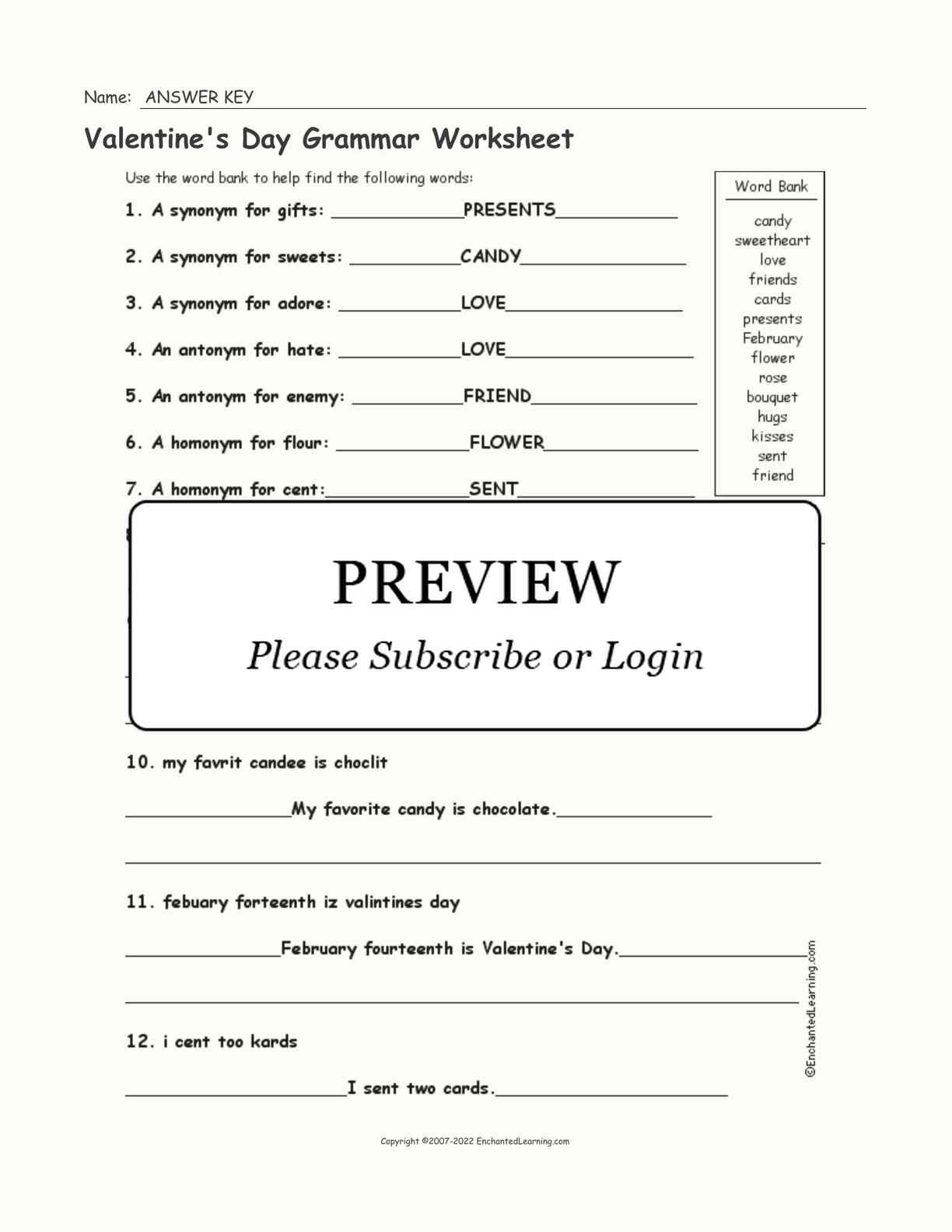 Valentine's Day Grammar Worksheet interactive worksheet page 2