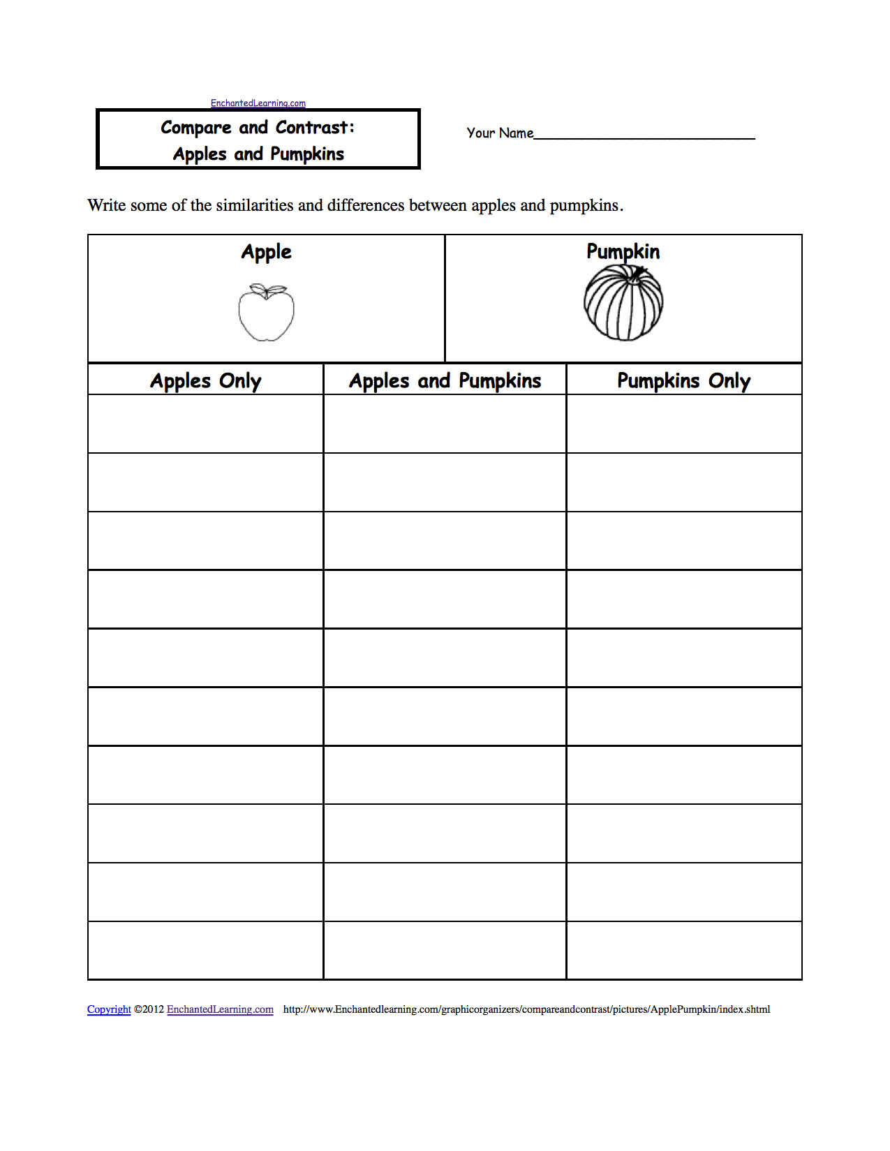 Compare And Contrast Worksheets To Print Enchantedlearning