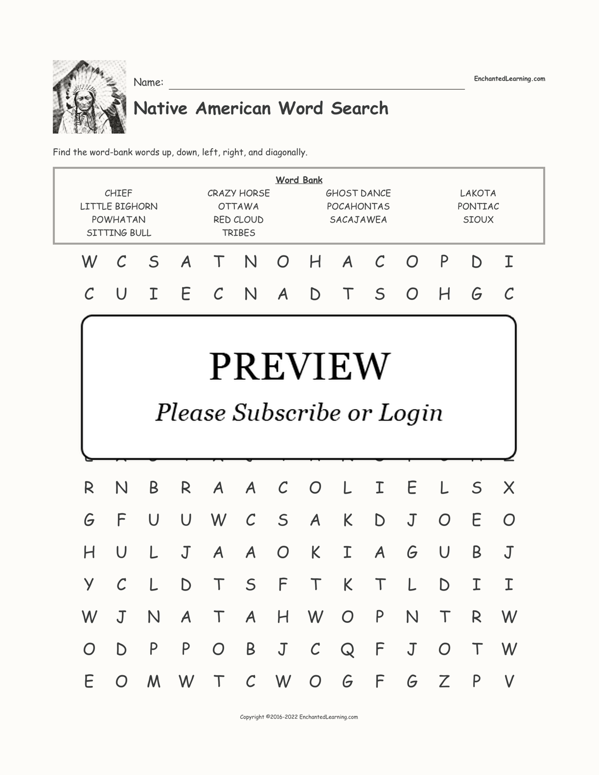 Native American Word Search interactive worksheet page 1
