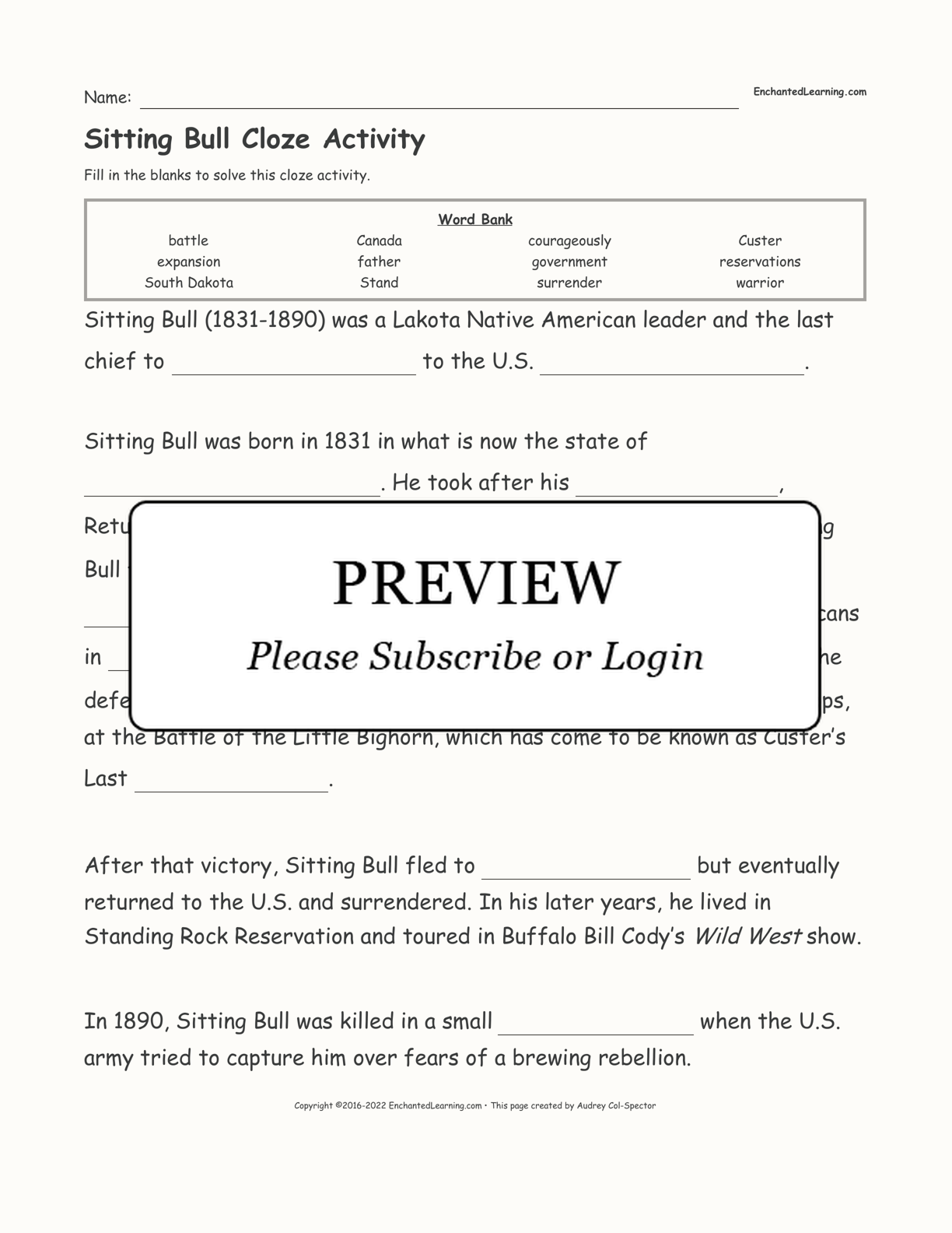 Sitting Bull Cloze Activity interactive worksheet page 1