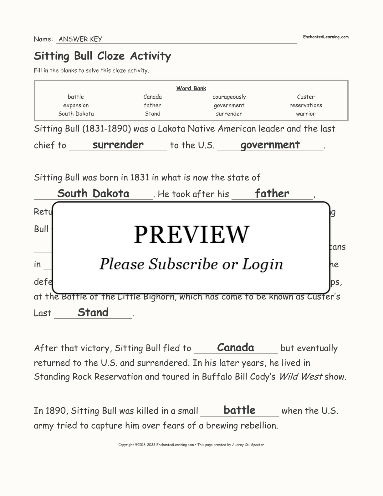 Sitting Bull Cloze Activity interactive worksheet page 2