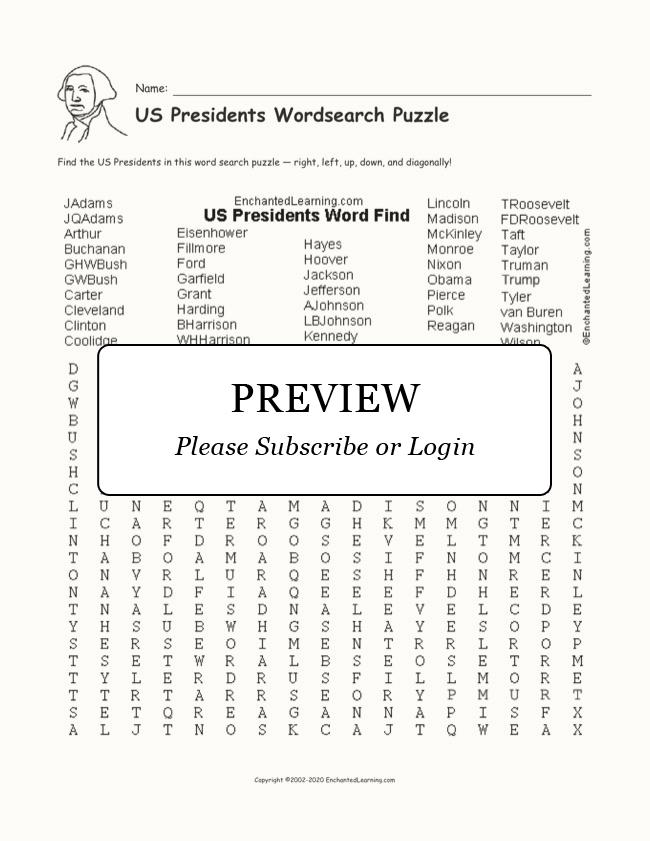 Us Presidents Wordsearch Puzzle Enchanted Learning